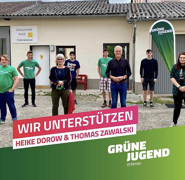 Grüner Thomas Zawalski, mit Juni Schandl und anderen in Lahr.