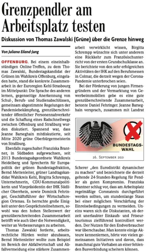 Screenshot eines Artikels der Badischen Zeitung.