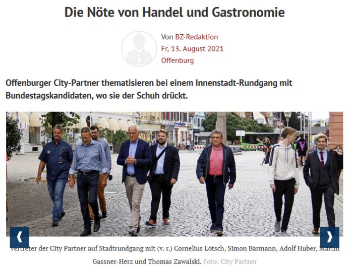 Vertreter der City Partner auf Stadtrundgang mit Cornelius Lötsch, Simon Bärmann, Adolf Huber, Martin Gassner-Herz und Thomas Zawalski.
