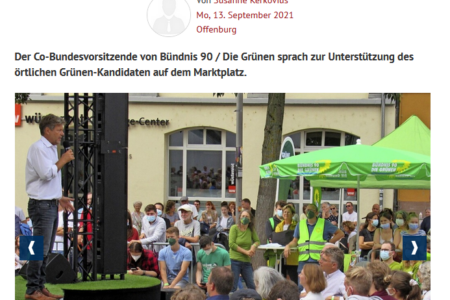 Artikel auf der Website der Badischen Zeitung. Auf dem Foto zu sehen ist Robert Habeck während seiner Rede auf dem Offenburger Marktplatz