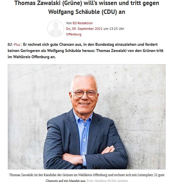 Screenshot des Artikels auf der Website der Badischen Zeitung